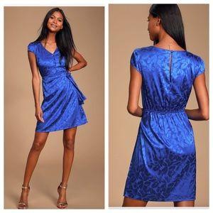 Lulu's Cobalt Blue Satin Button Front Mini Dress.